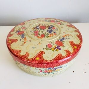 VTG Cookie Tin Metal Lidded Container Cottagecore